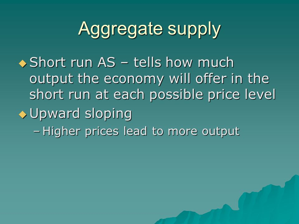 Aggregate supply Short run AS – tells how much output the economy will offer in the short run at each possible price level.