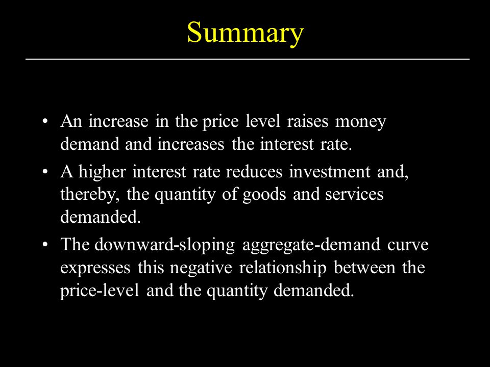 Summary An increase in the price level raises money demand and increases the interest rate.