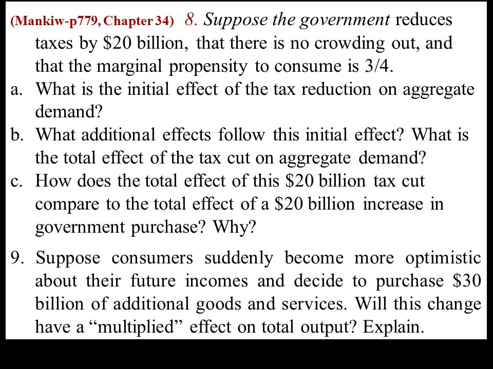 What is the initial effect of the tax reduction on aggregate demand
