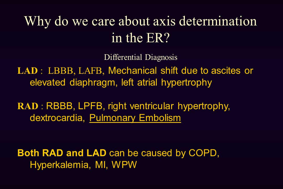 Why do we care about axis determination in the ER