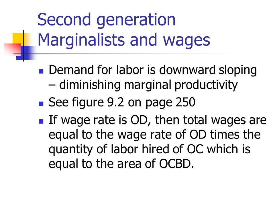 Second generation Marginalists and wages