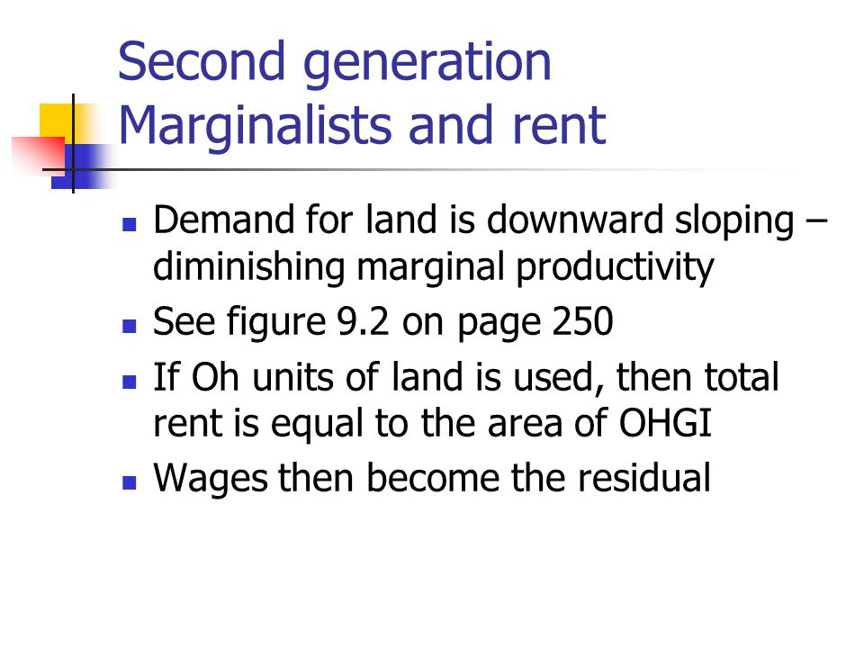 Second generation Marginalists and rent