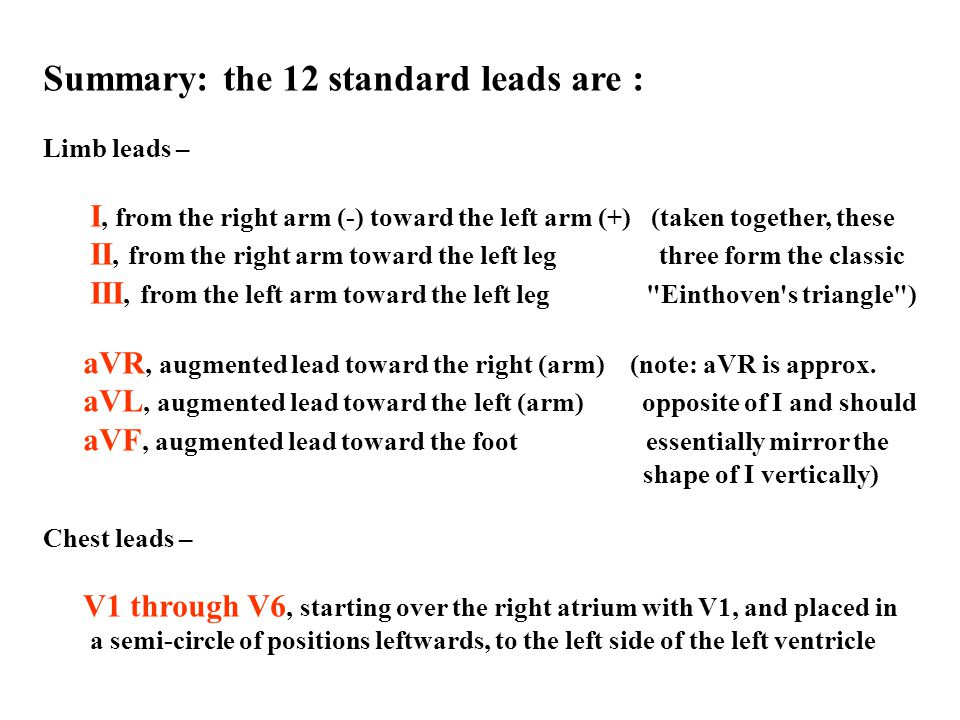 Summary: the 12 standard leads are :