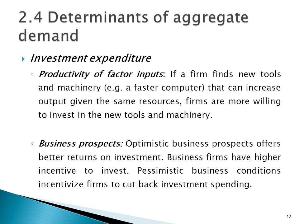 2.4 Determinants of aggregate demand