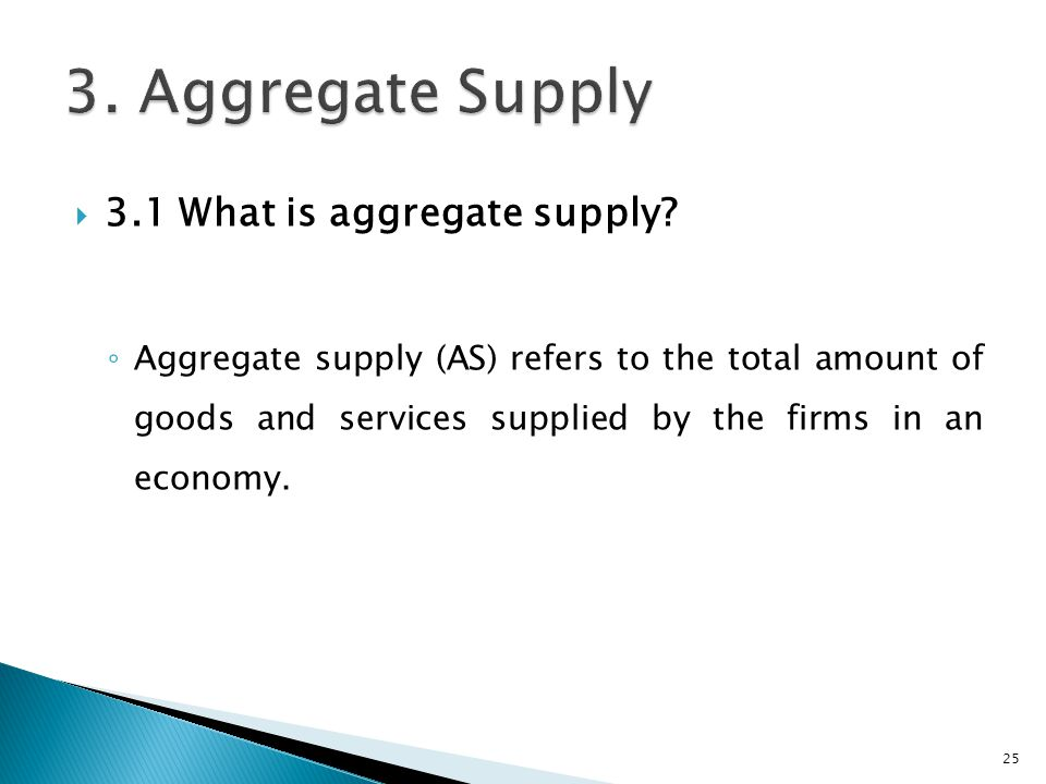 3. Aggregate Supply 3.1 What is aggregate supply