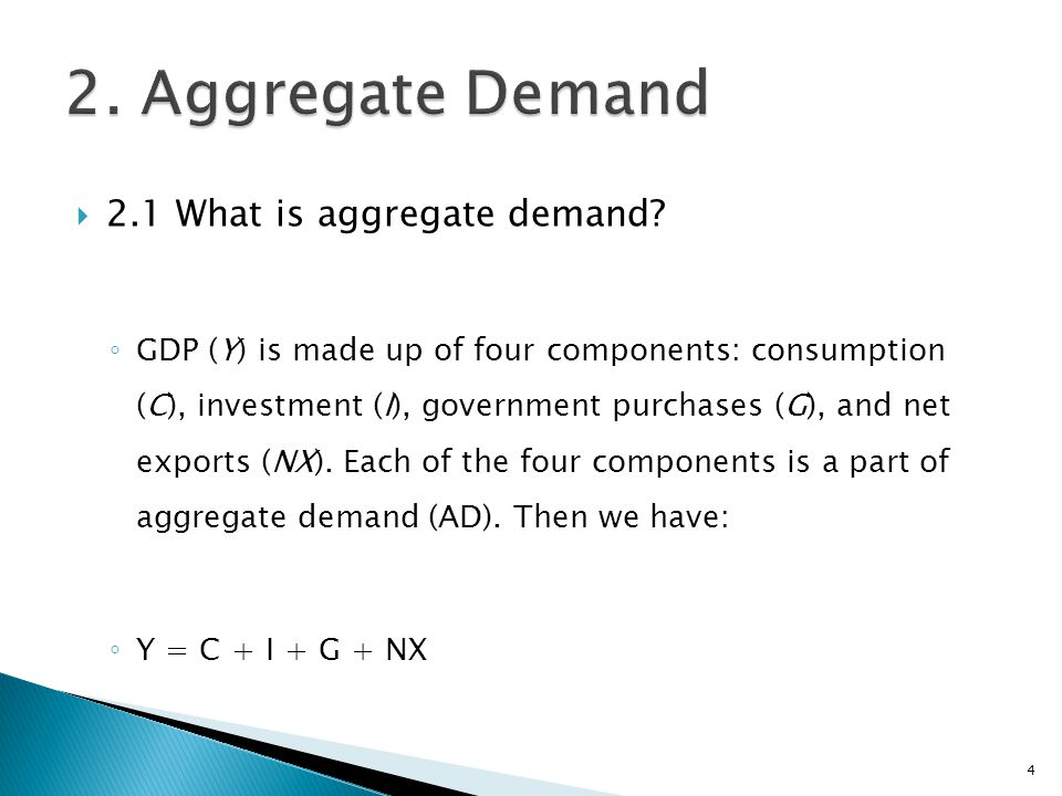 2. Aggregate Demand 2.1 What is aggregate demand