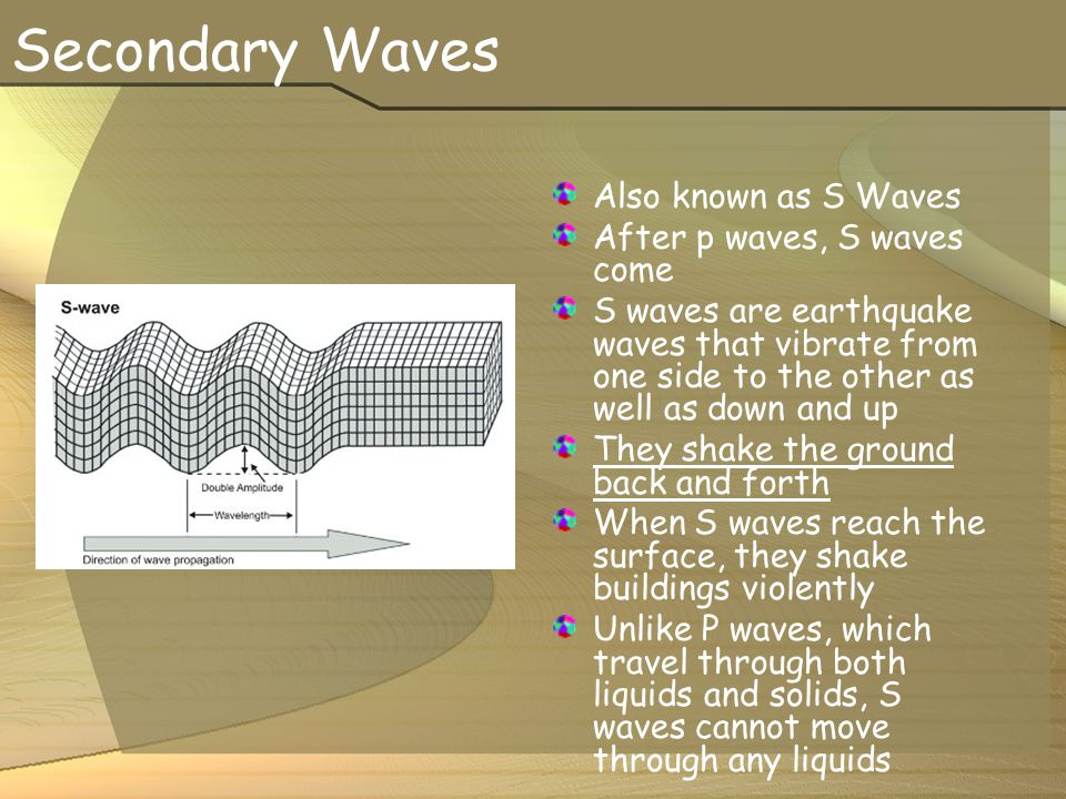 Secondary Waves Also known as S Waves After p waves, S waves come
