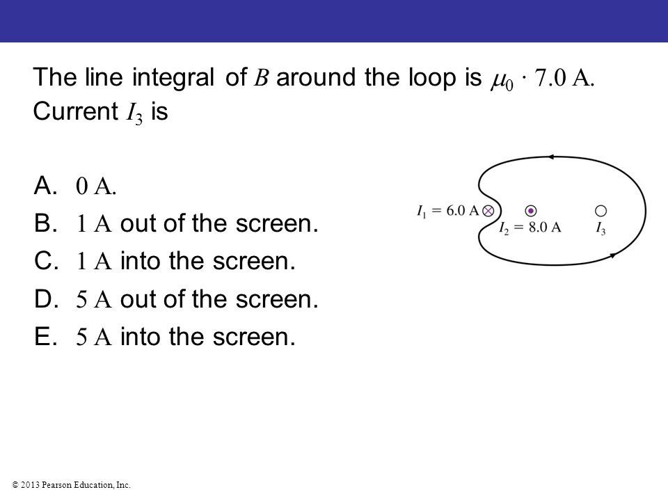 The line integral of B around the loop is 0 · 7.0 A. Current I3 is