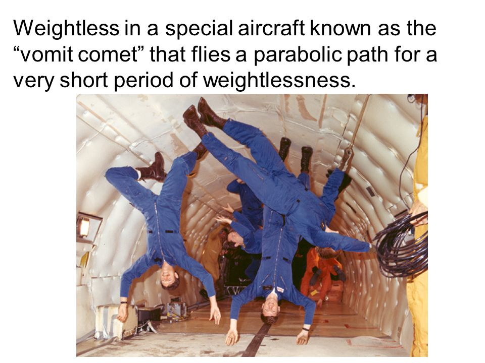 Weightless in a special aircraft known as the vomit comet that flies a parabolic path for a very short period of weightlessness.