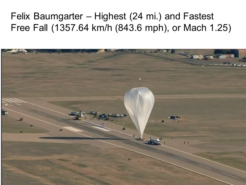 Felix Baumgarter – Highest (24 mi. ) and Fastest Free Fall (1357