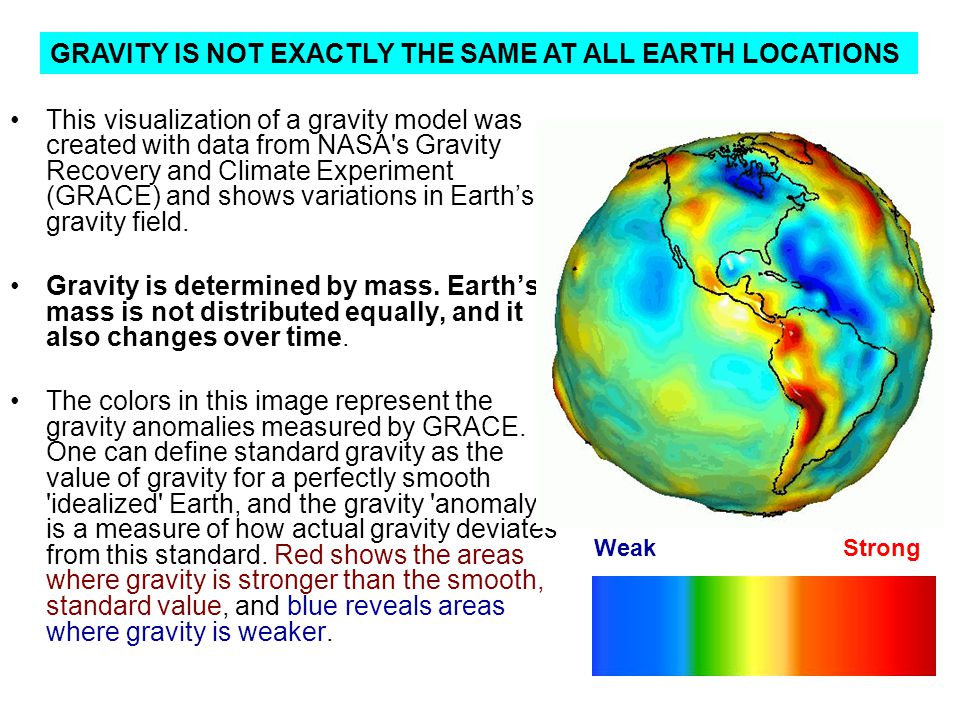 GRAVITY IS NOT EXACTLY THE SAME AT ALL EARTH LOCATIONS