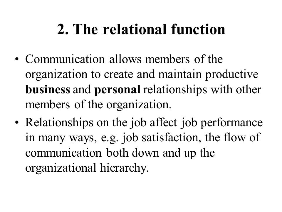 2. The relational function