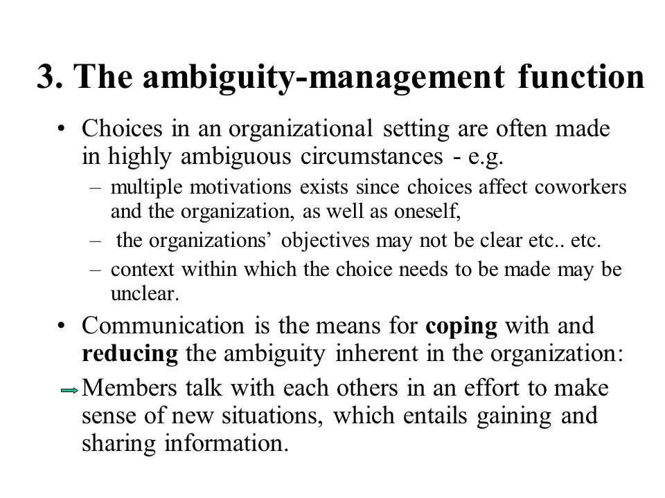 3. The ambiguity-management function