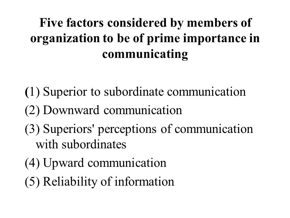 Five factors considered by members of organization to be of prime importance in communicating