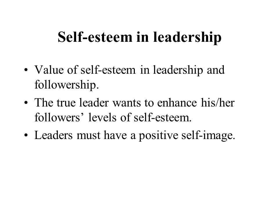 Self-esteem in leadership