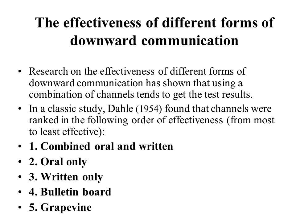 The effectiveness of different forms of downward communication
