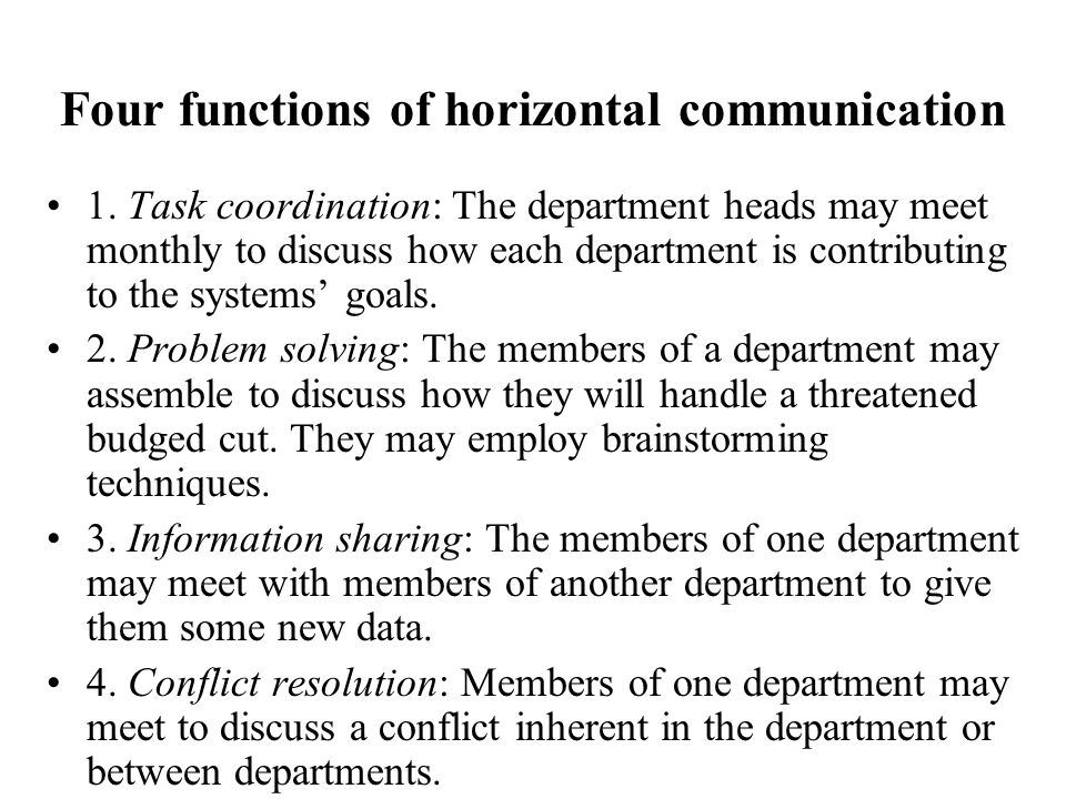 Four functions of horizontal communication
