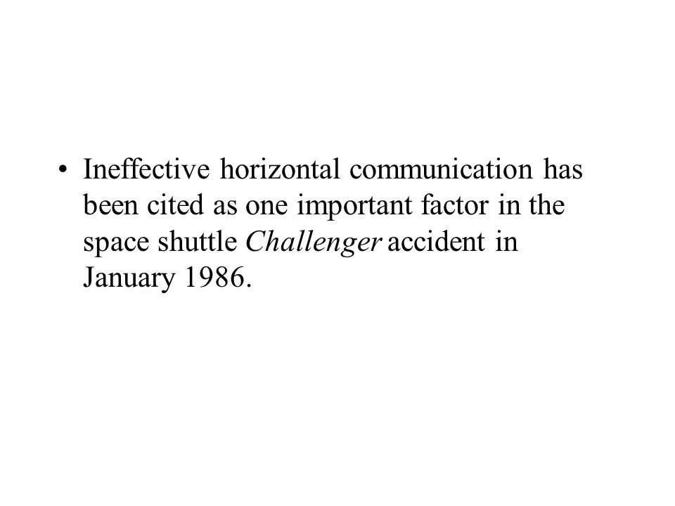Ineffective horizontal communication has been cited as one important factor in the space shuttle Challenger accident in January 1986.