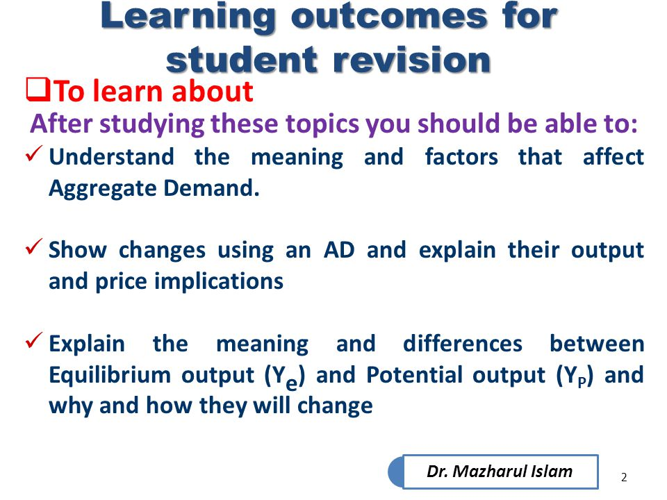 Learning outcomes for student revision