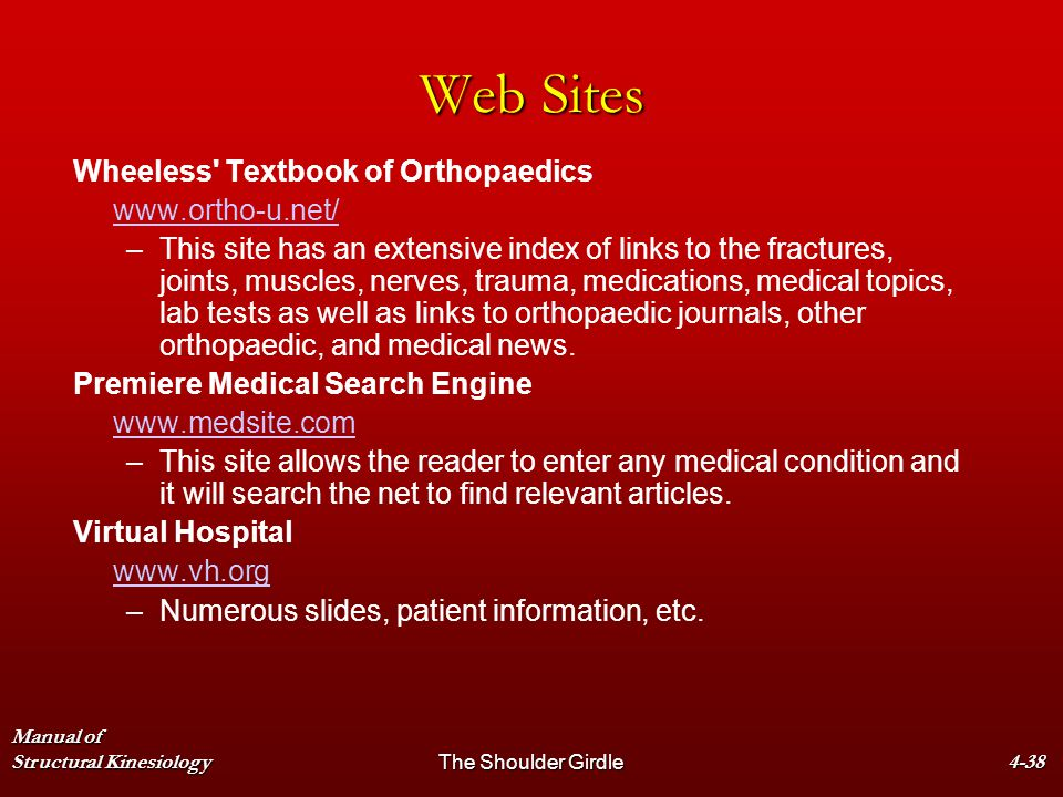 Web Sites Wheeless Textbook of Orthopaedics www.ortho-u.net/