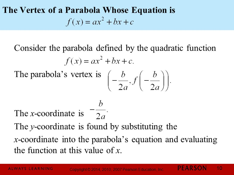 The Vertex of a Parabola Whose Equation is