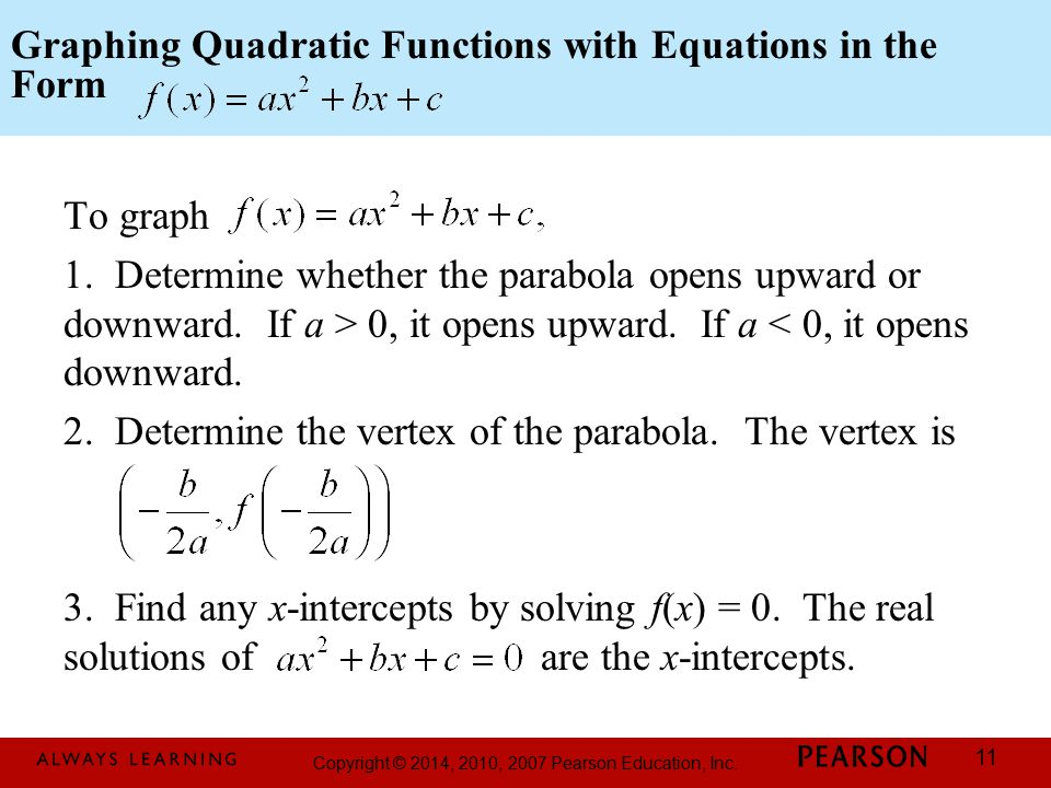 Graphing Quadratic Functions with Equations in the Form