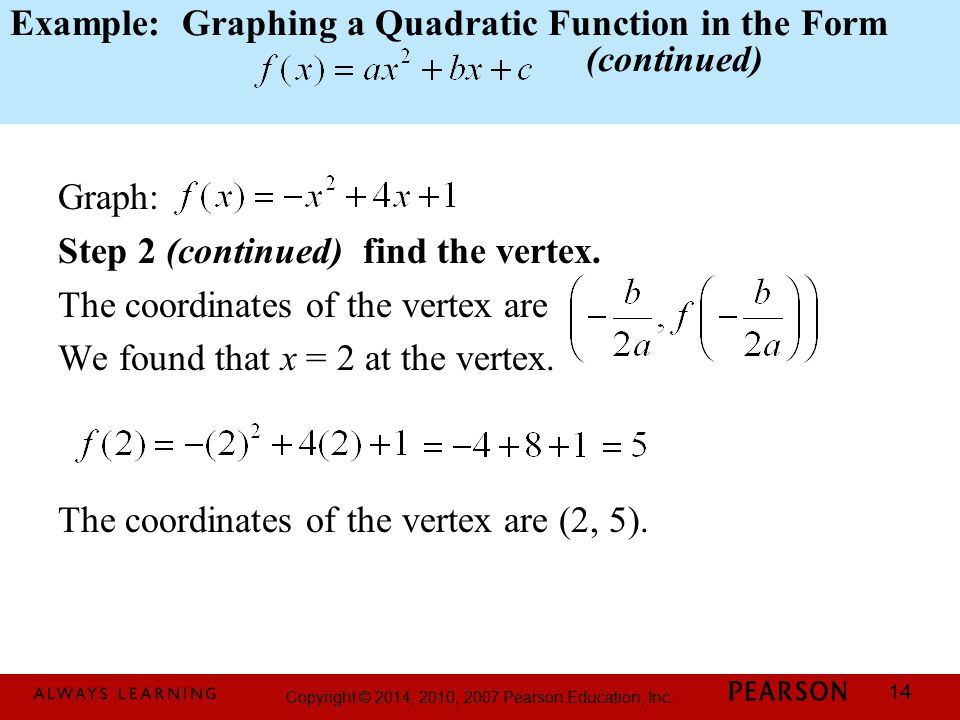Example: Graphing a Quadratic Function in the Form (continued)