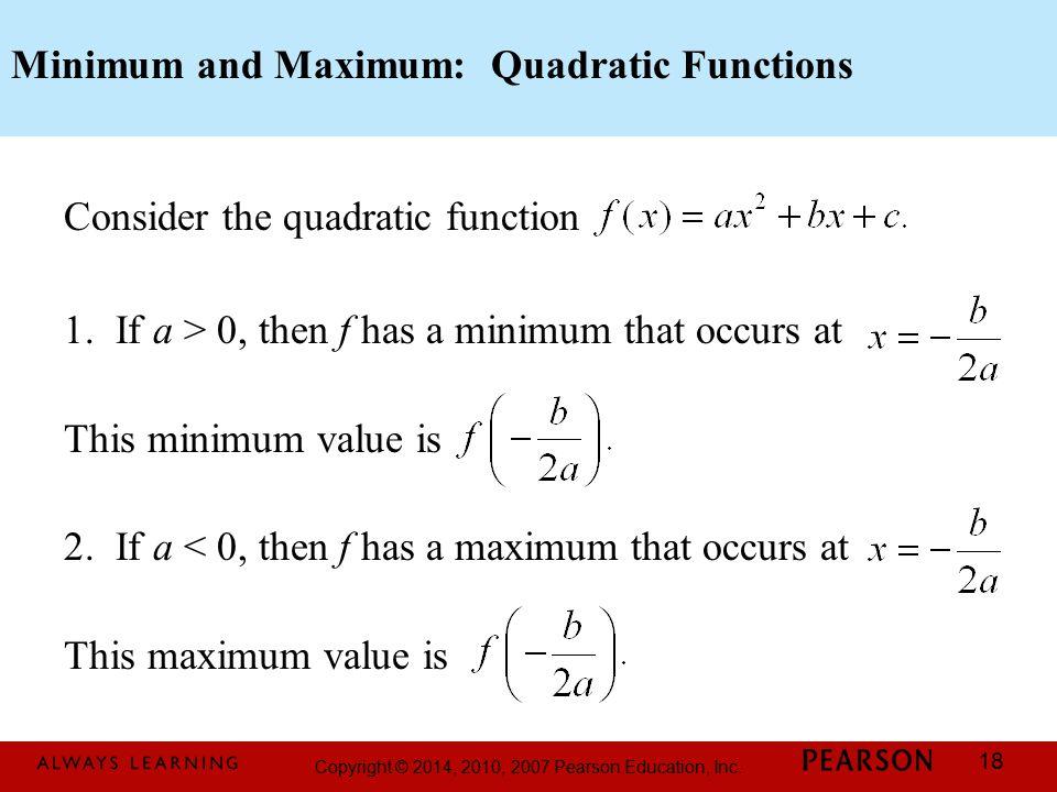 Minimum and Maximum: Quadratic Functions