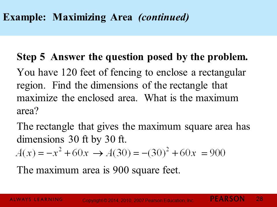 Example: Maximizing Area (continued)
