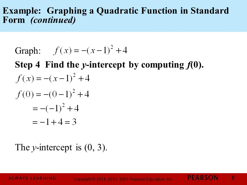 Example: Graphing a Quadratic Function in Standard Form (continued)