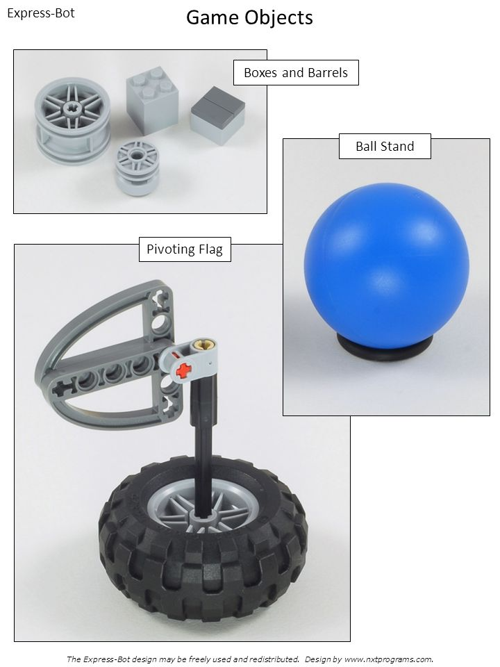 Game Objects Express-Bot Boxes and Barrels Ball Stand Pivoting Flag