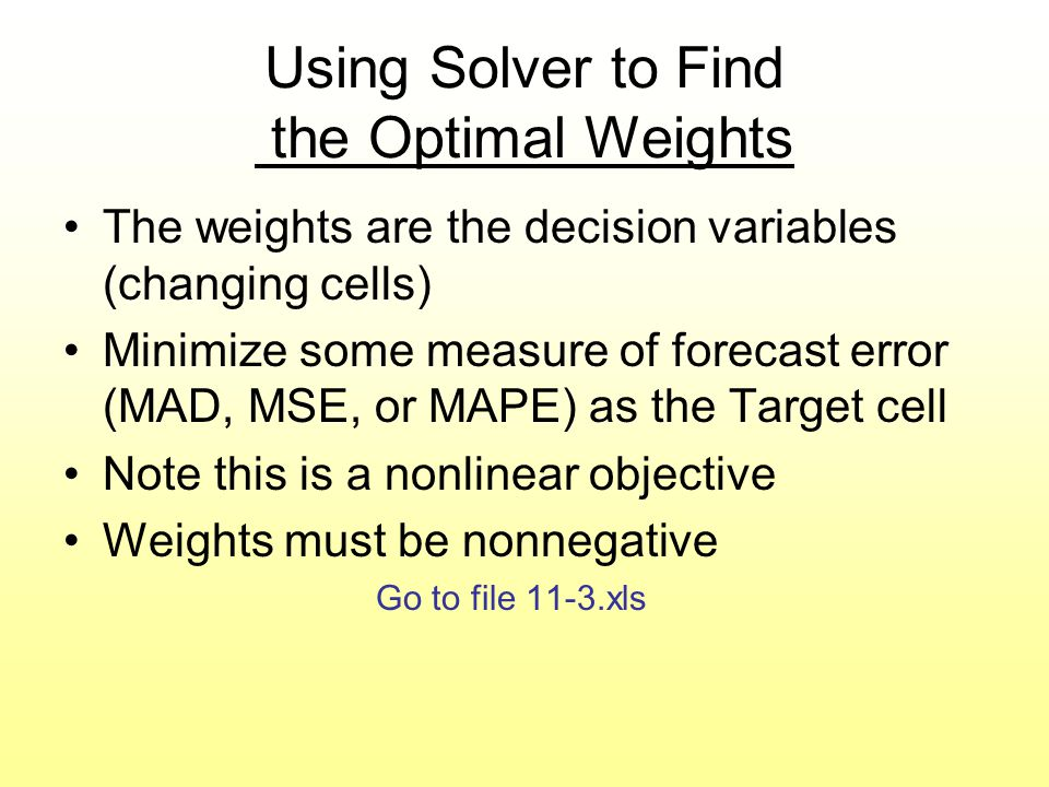 Using Solver to Find the Optimal Weights