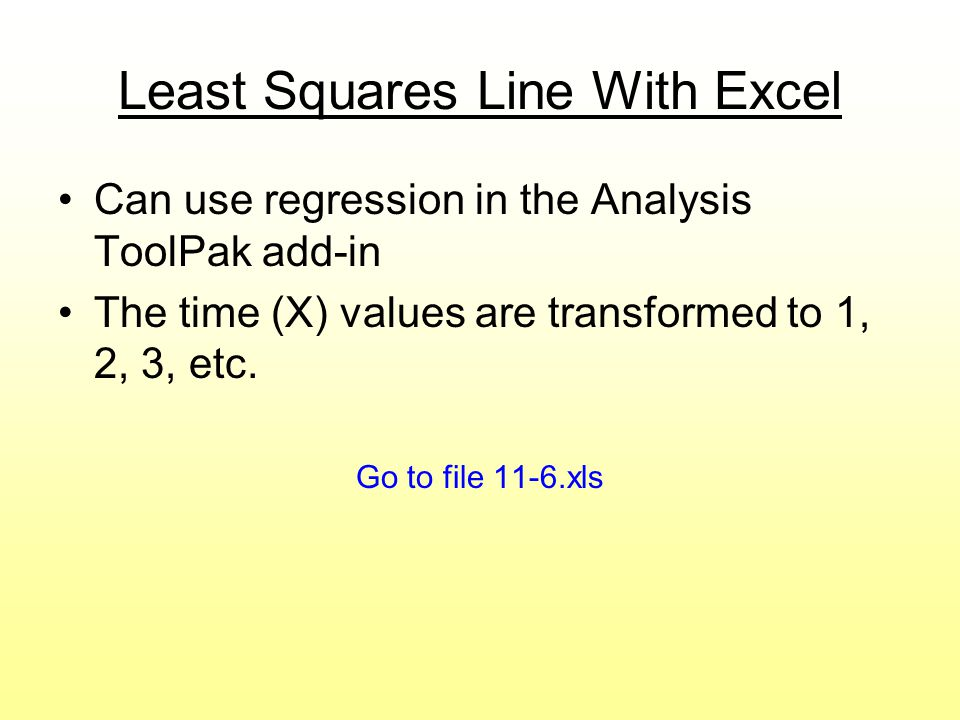 Least Squares Line With Excel