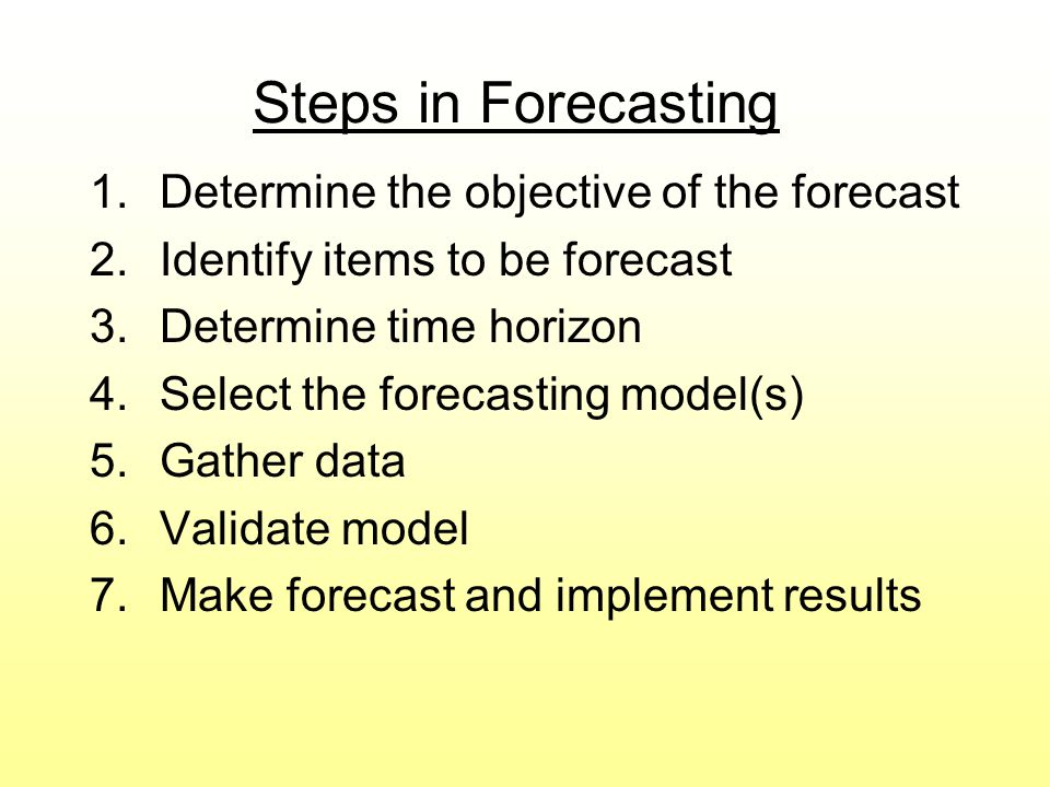 Steps in Forecasting Determine the objective of the forecast