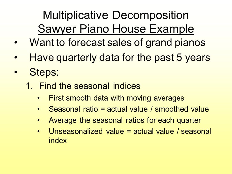 Multiplicative Decomposition Sawyer Piano House Example