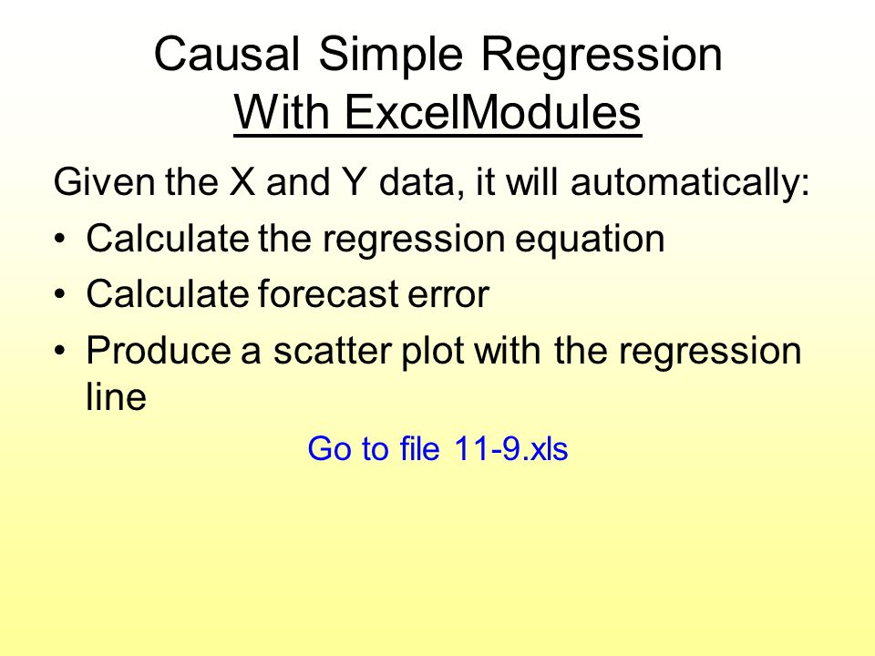 Causal Simple Regression With ExcelModules