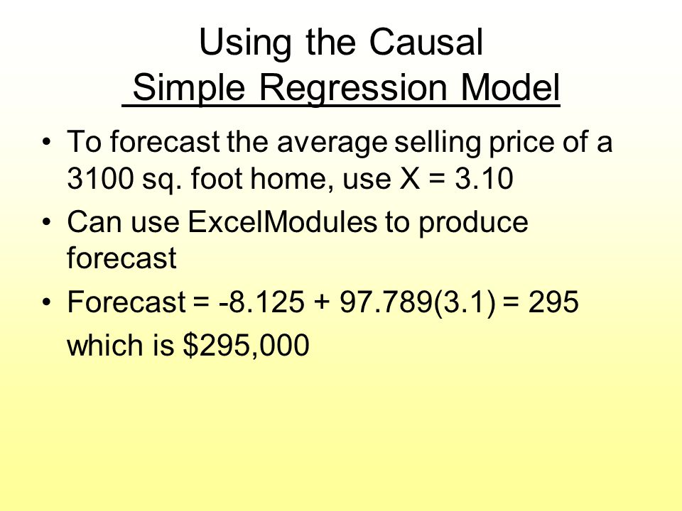 Using the Causal Simple Regression Model
