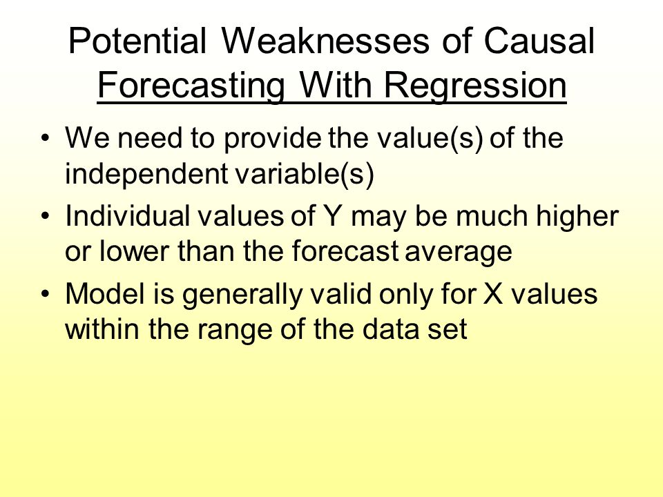 Potential Weaknesses of Causal Forecasting With Regression