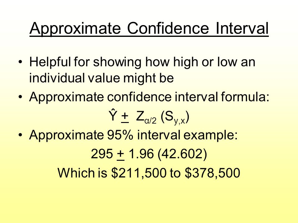 Approximate Confidence Interval