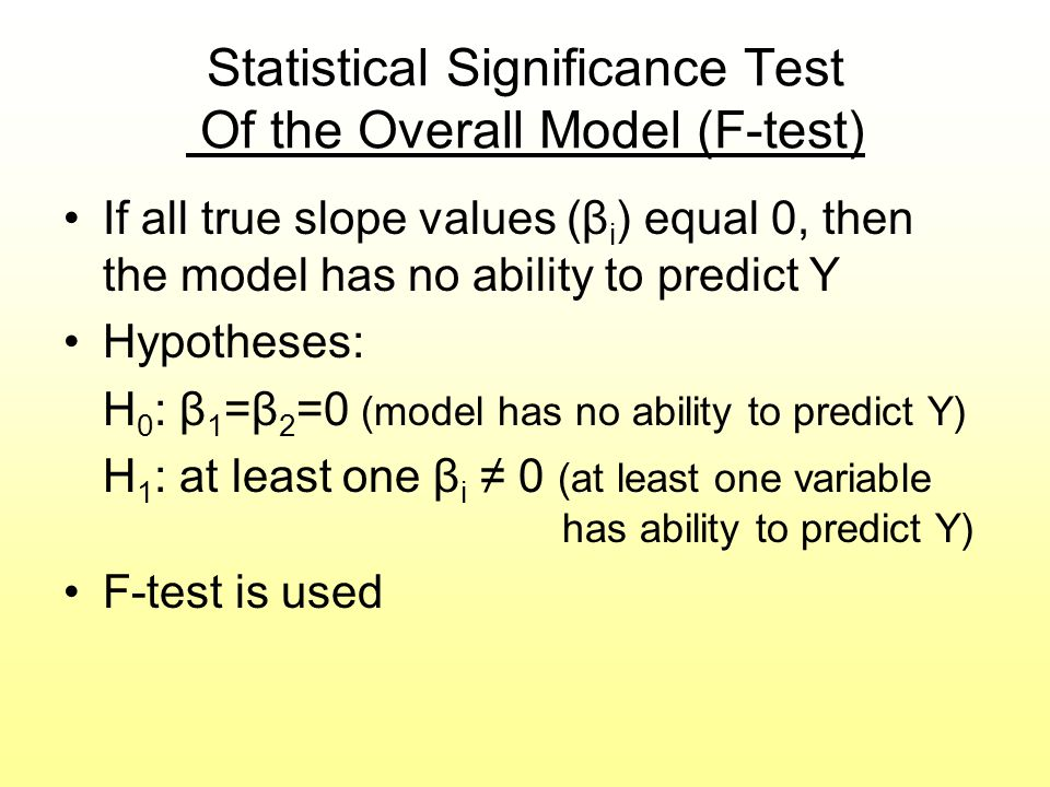 Statistical Significance Test Of the Overall Model (F-test)