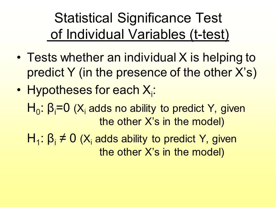 Statistical Significance Test of Individual Variables (t-test)