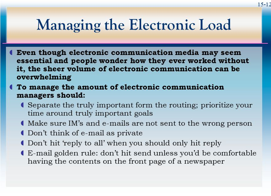 Managing the Electronic Load