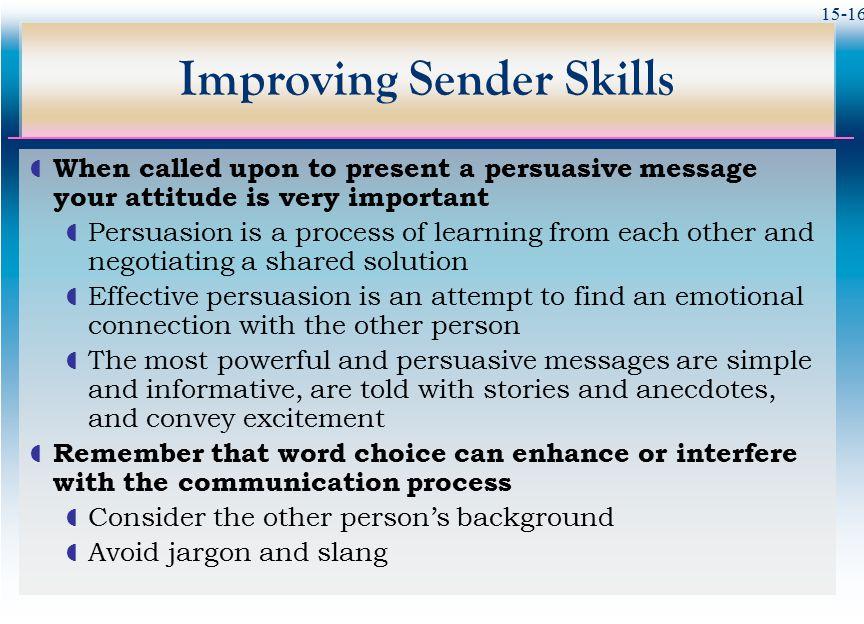 Improving Sender Skills