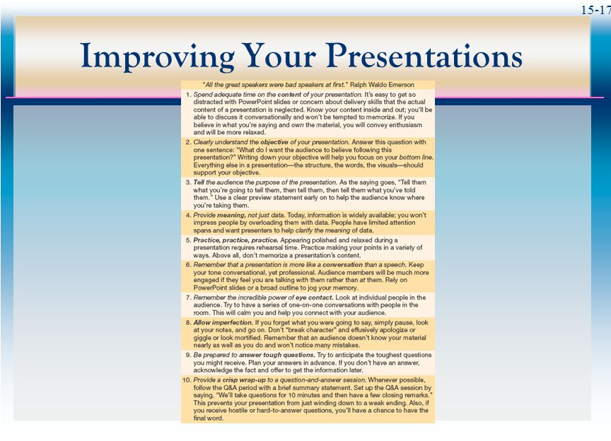 Improving Your Presentations