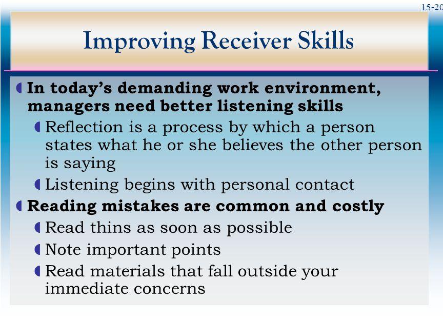 Improving Receiver Skills