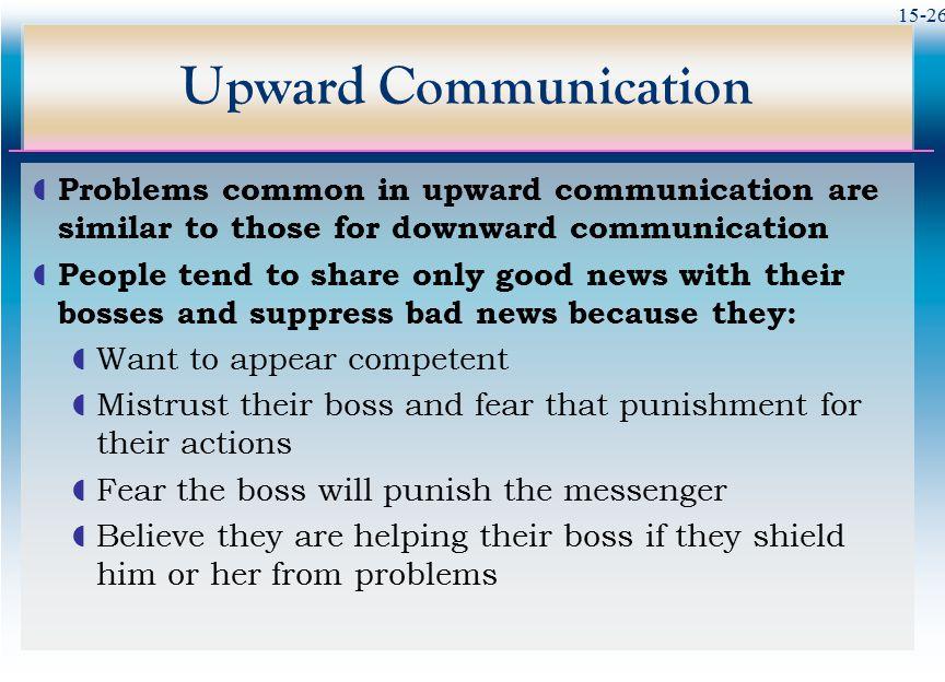 Upward Communication Problems common in upward communication are similar to those for downward communication.