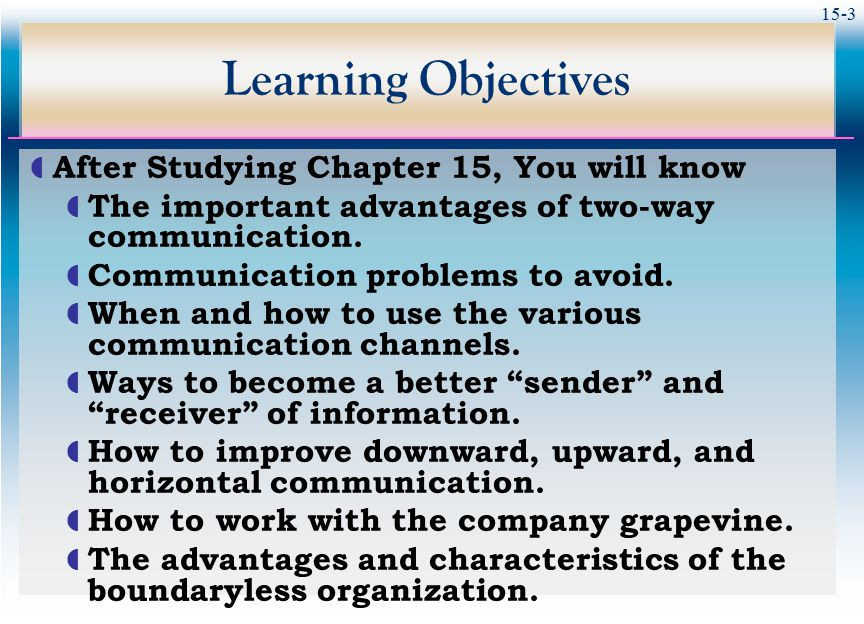 Learning Objectives After Studying Chapter 15, You will know