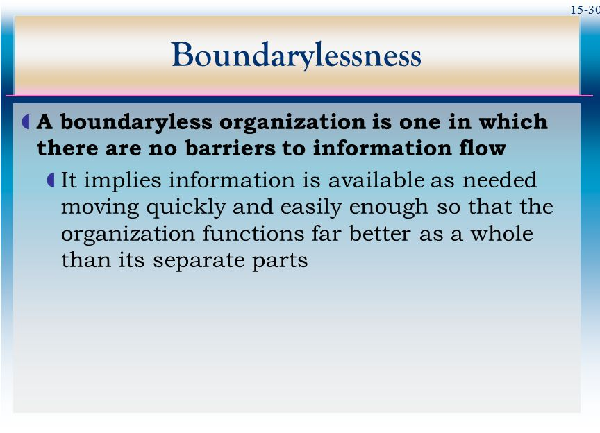Boundarylessness A boundaryless organization is one in which there are no barriers to information flow.
