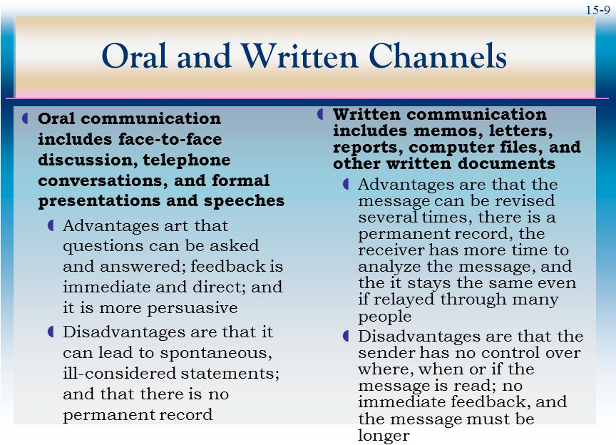 advantages and disadvantages of oral and written reports Speeches, presentations, discussions are all forms of oral communication   written communication - meaning, advantages and disadvantages written.
