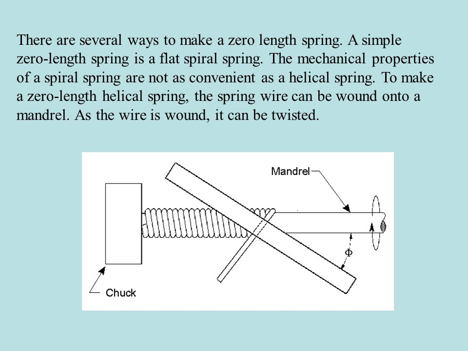 There are several ways to make a zero length spring